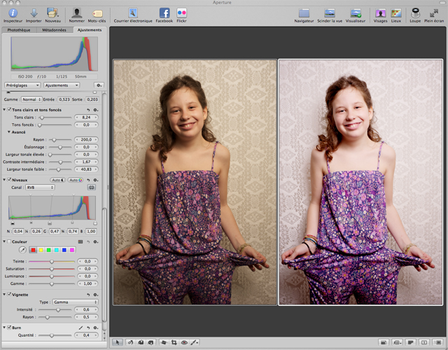 A gauche l'image brute, à droite l'image retouchée